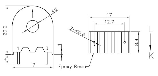 Dimensions of 2-Pin Tiny Current Transformer