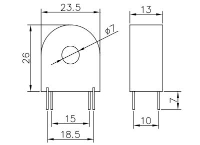 Dimensions of MC40-20A, 4-Pin Compact Current Transformer
