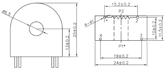 Dimensions of MC40-20C, 4-Pin Compact Current Transformer