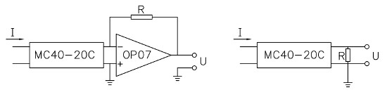 Schematic Circuit of MC40-20C, 4-Pin Compact Current Transformer